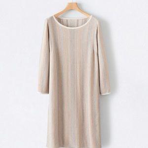 Poetry Herringbone Cotton Dress Relaxed Straight